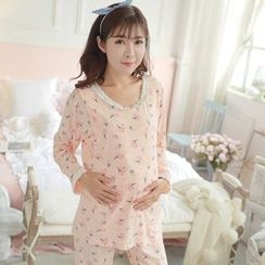 Tabla - Maternity Loungewear Set: Printed Nursing Top + Pants