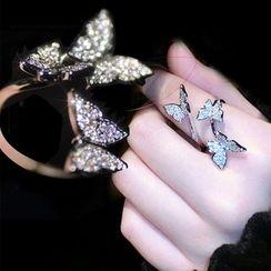 Nanazi Jewelry - Rhinestone Butterfly Open Ring