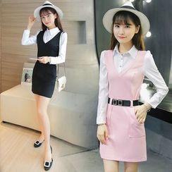 Sienne - Long-Sleeve Mock Two Piece Sheath Dress