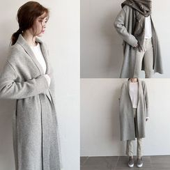 NIPONJJUYA - Shawl-Collar Wool Blend Long Cardigan with Sash