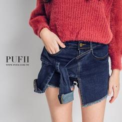 PUFII - 造型假兩件前仿袖側綁帶不修邊牛仔褲裙