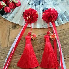 Kiyoha - 古風飾花吊蘇髮夾