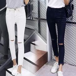 Iscat - 撕破短款窄身牛仔裤