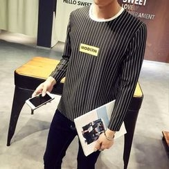 MEING - Lettering Striped Pullover