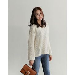 UPTOWNHOLIC - V-Neck Pointell Knit Top
