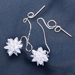 A'ROCH - 925 Sterling Silver Crystal Flower Threader Earrings