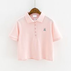 Sunny Day - Rabbit Embroidered Short Sleeve Polo Shirt