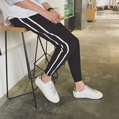 Troopers - Drawstring Contrast-Stripe Cropped Pants