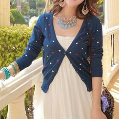 Coralie - Heart Embroidered Knit Cardigan