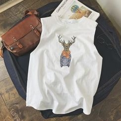 JUN.LEE - Deer Print Tank Top