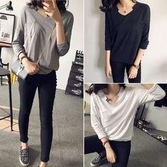 CosmoCorner - Long-Sleeve V-Neck Pocket T-Shirt