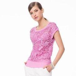 O.SA - Lace-Front Knit Top