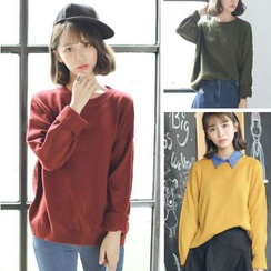 CosmoCorner - Loose-Fit Plain Round-Neck Knit Top