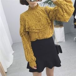 Dream Girl - Ruffle Trim Lace Pullover