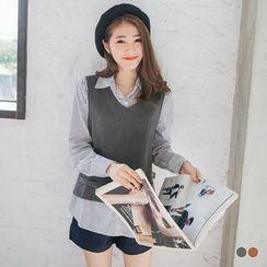 OrangeBear - Plain Textile Vest 2fer Striped Shirt