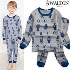 WALTON kids - Boys Pajama Set: Robot Patterned Top + Pants