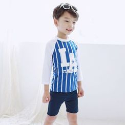 Aqua Wave - Kids Set: Striped Rashguard + Swim Shorts + Swim Cap