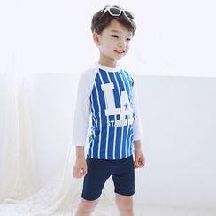 Aqua Wave - 儿童套装: 条纹防晒衣 + 游泳短裤 + 泳帽