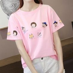 Adima - Cartoon Print Short-Sleeve T-Shirt