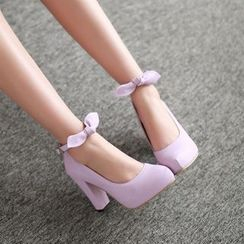 Pastel Pairs - Bow Ankle Strap Chunky Heel Pumps