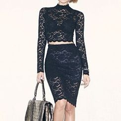 Isadora - Set: Lace Long Sleeve Top + Midi Skirt