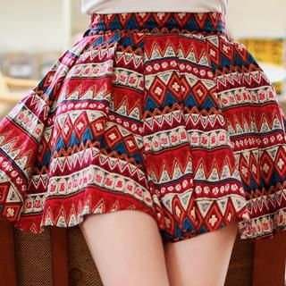 chuu - Banded-Waist Ethnic Pattern Pleated Miniskirt