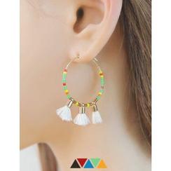 soo n soo - Tassel-Trim Beaded Hoop Earrings