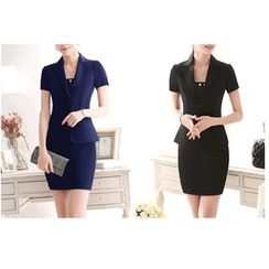 Caroe - Short-Sleeve Double Button Blazer / Set: Short-Sleeve Double Button Blazer + Skirt