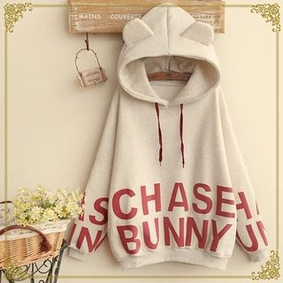 Fairyland - Lettering Ear Accent Hooded Pullover