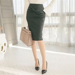 ode' - Bow-Front Pencil Skirt