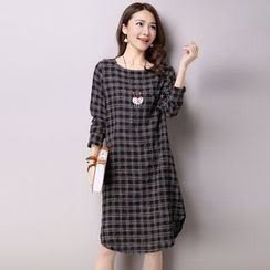 Supernova - Long-Sleeve Plaid Long Blouse