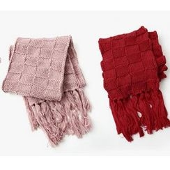 Cuteberry - Fringed Check Scarf