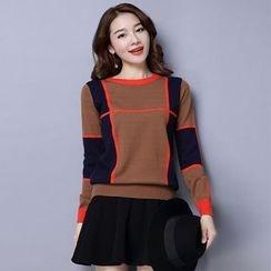 Romantica - Long-Sleeve Color-Block Knit Top