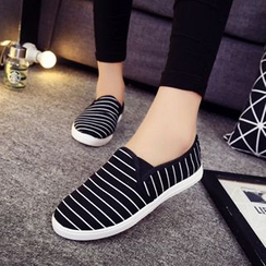 One100 - Striped Canvas Loafers