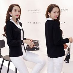 Romantica - Set: Contrast-Trim Blouse + Pants