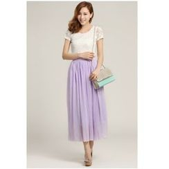 Fluff Snowy - Plain Maxi Chiffon Skirt