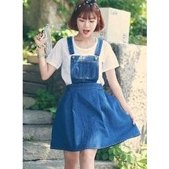 HOTPING - Denim Jumper Skirt
