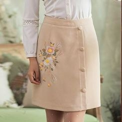 GU ZHI - Embroidered Buttoned A-Line Skirt