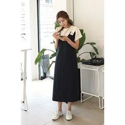 CHERRYKOKO - Contrast-Strap V-Neck Jumper Dress