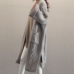 NANING9 - Cable-Knit Long Cardigan