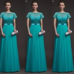 Katemi - Lace-Panel Evening Gown