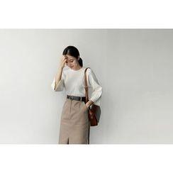 UPTOWNHOLIC - Slit-Sleeve Pleated Knit Top