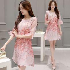 Ashlee - Floral Frilled Organza Dress