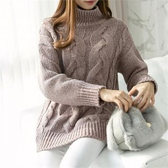 PEPER - Mock-Neck Cable-Knit Sweater
