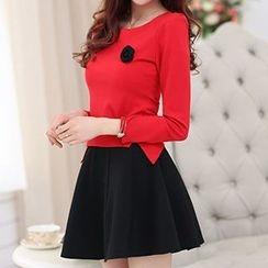 Romantica - Set: Long-Sleeve Applique Top + Skirt