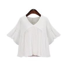 GRACI - Bell-Sleeve Panel Chiffon Top