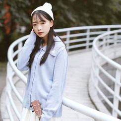 Sens Collection - Heart Embroidered Collar Cardigan