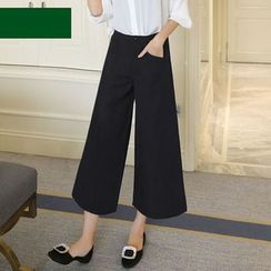 YAYAGREEN - Cropped Wide Leg Pants