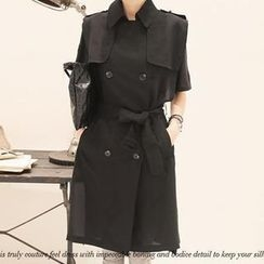 NANING9 - Chiffon Short-Sleeve Trench Coat