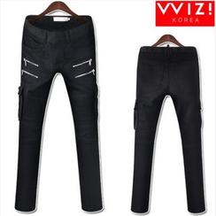 WIZIKOREA - Zip-Detail Cargo-Pocket Jeans